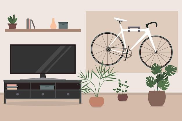 Bicicleta pendurada na parede da sala interior da sala de estar com flores de tv em vasos de bicicleta