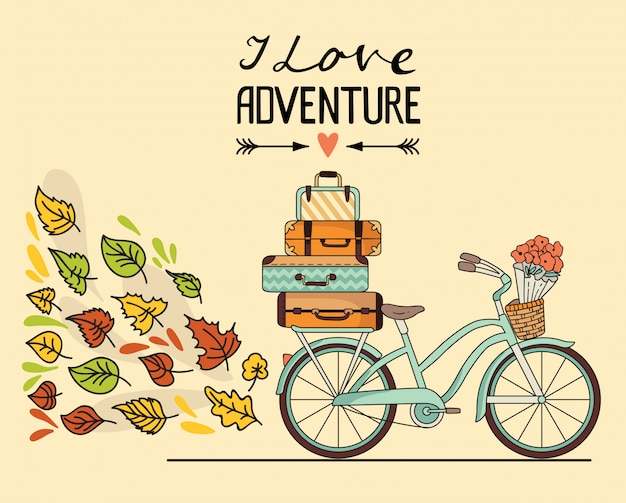 Bicicleta retrô com bagagem