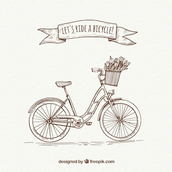 Bicicleta retro com estilo desenhado a mão