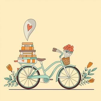 Bicicleta retro com livros