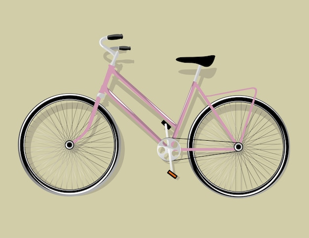 Bicicleta rosa feminina isolada, ilustração vetorial