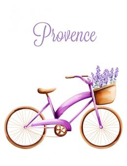 Bicicleta roxa com lavanda na cesta da frente