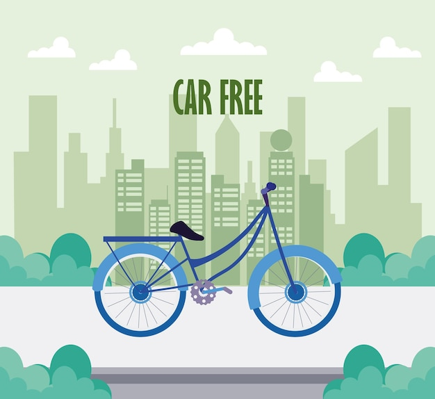 Bicicleta sem carro na cidade