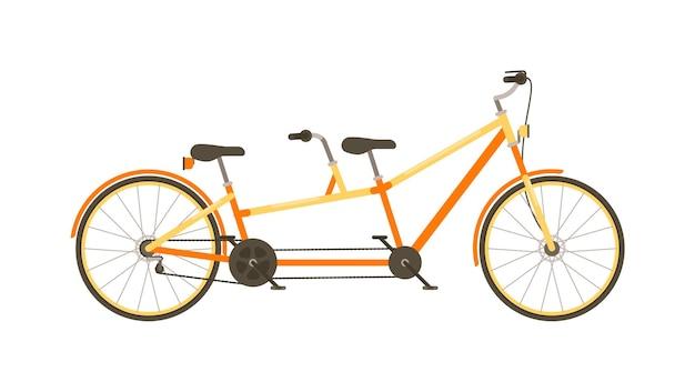 Bicicleta tandem com assento duplo isolado no fundo branco