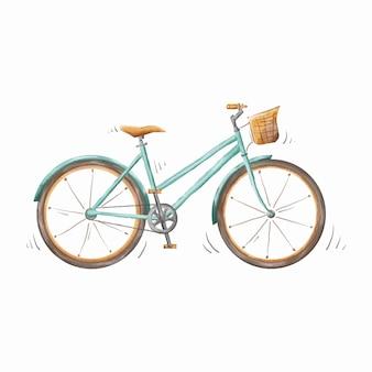 Bicicleta verde-azulado fofa isolada desenhada à mão em aquarela em vetor premium de fundo branco