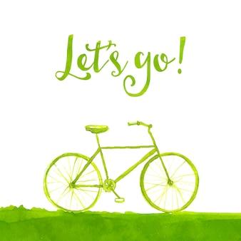 Bicicleta verde pintada à mão com texto vamos lá ilustração em aquarela de conceito de estilo de vida saudável