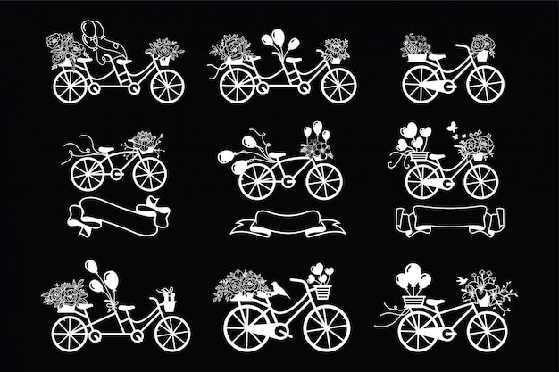 Bicicleta vintage com coleção floral