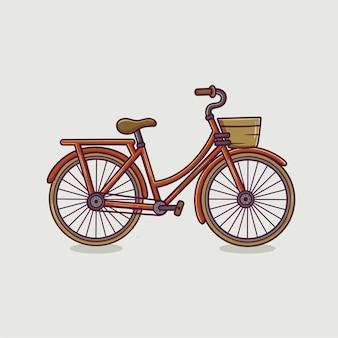 Bicicleta vintage com ilustração de desenho animado