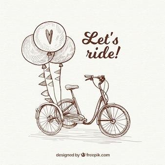 Bicicleta vintage e balões desenhados a mão