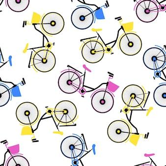 Bicicletas multicoloridas com padrão sem emenda de cesta.