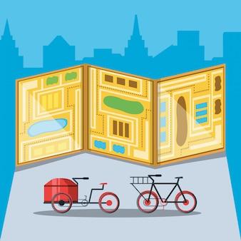 Bicicletas para serviço logístico com mapa