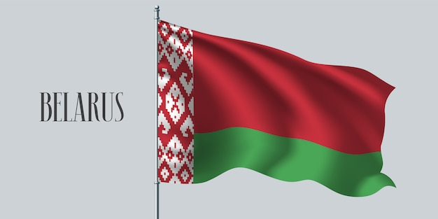 Bielorrússia acenando bandeira no mastro