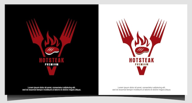 Bife assado grelha fogo chama garfo logo vector