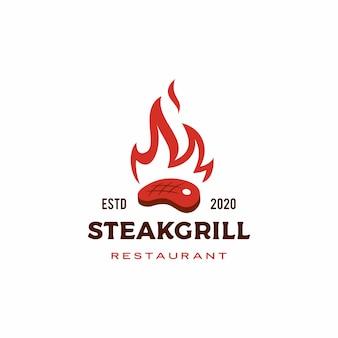Bife assado grelha fogo chama logotipo