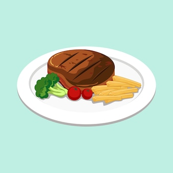 Bife de carne com legumes ilustração vector clipart
