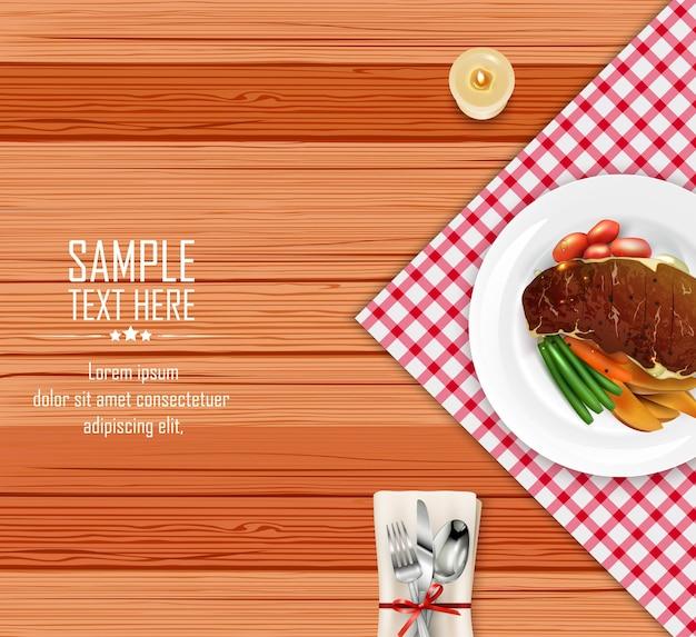 Bife de carne realista com legumes na mesa de madeira