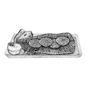 Bife de salmão desenhados à mão
