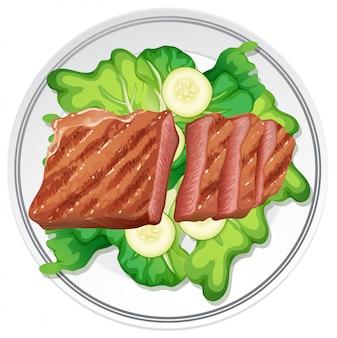 Bife e salada