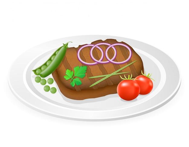 Bife grelhado com legumes em um prato.