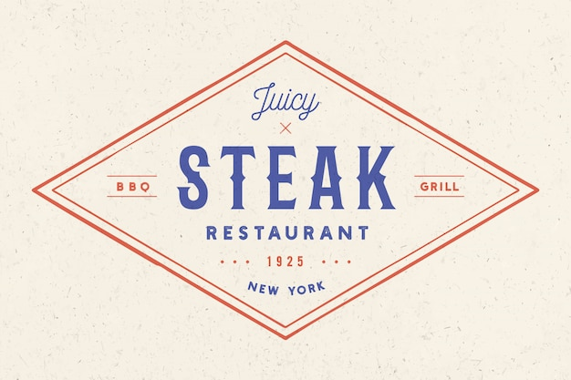 Bife, logotipo, rótulo de carne. logotipo com restaurante de carnes de texto, bife suculento
