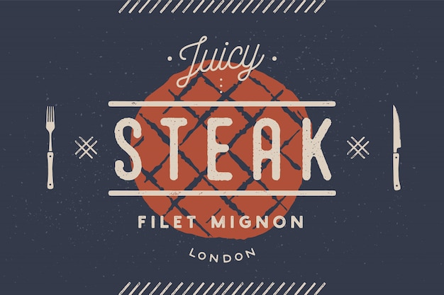 Bife, logotipo, rótulo de carne. logotipo com silhueta de bife