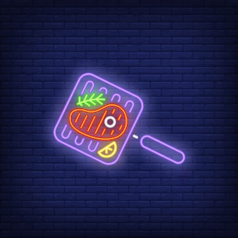 Bife na grelha com alecrim pan neon sign