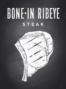 Bife, quadro-negro. cartaz com silhueta de bife, texto bone-in ribeye, steak. modelo de cartaz de tipografia para o negócio de carnes - loja, mercado, restaurante, menu. fundo do quadro-negro. ilustração vetorial
