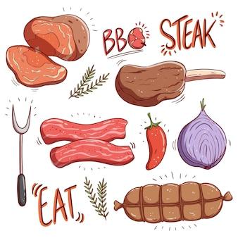 Bife saboroso e produtos de carne crua com estilo colorido desenhado à mão