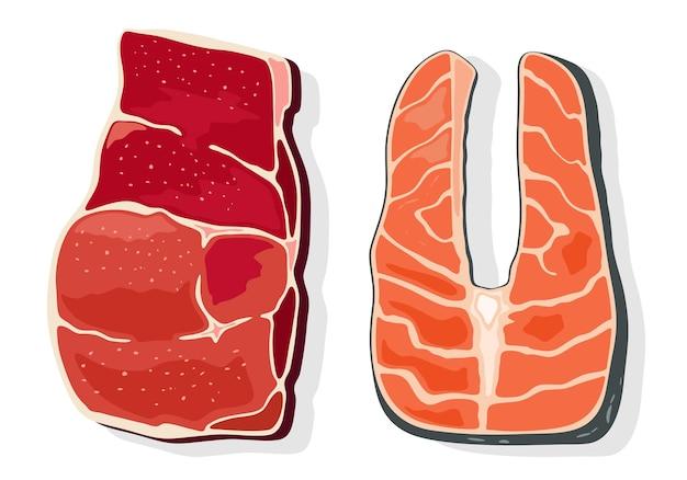 Bifes de carne e peixe vermelho, filé. produto de origem animal para pessoas de boa forma.