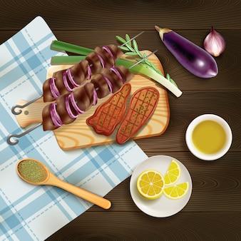 Bifes grelhados para churrasco e kebab na tábua com ilustração realista de ervas e legumes