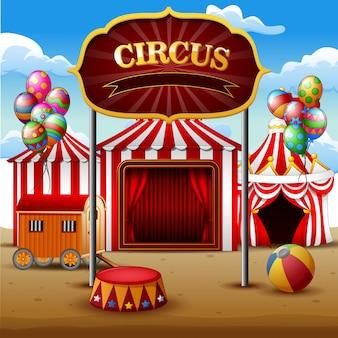 Big barracas de circo branco e vermelho fundo