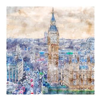 Big ben london unted kingdom ilustração em aquarela de esboço desenhado à mão