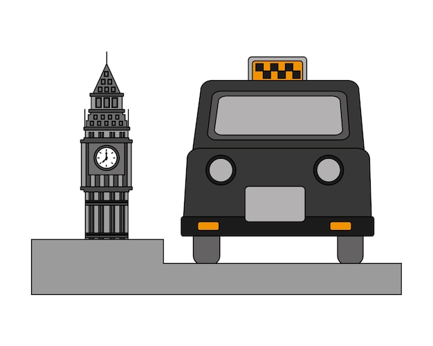 Big ben tower british com táxi clássico