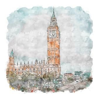 Big ben tower london esboço em aquarela ilustrações desenhadas à mão