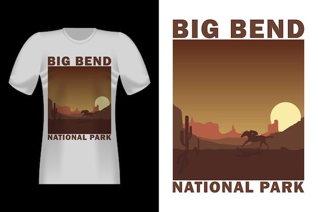 Big bend com design de t-shirt vintage estilo puxado a mão de cavalo
