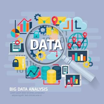 Big data analytics ícones lisos composição design conceitual cartaz com lente de mão de aumento