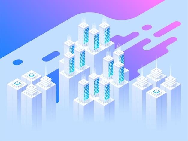 Big data center e tecnologia de armazenamento em nuvem. cabeçalho da página de destino. computador mainframe, conceito de centro de processamento. ilustração isométrica.