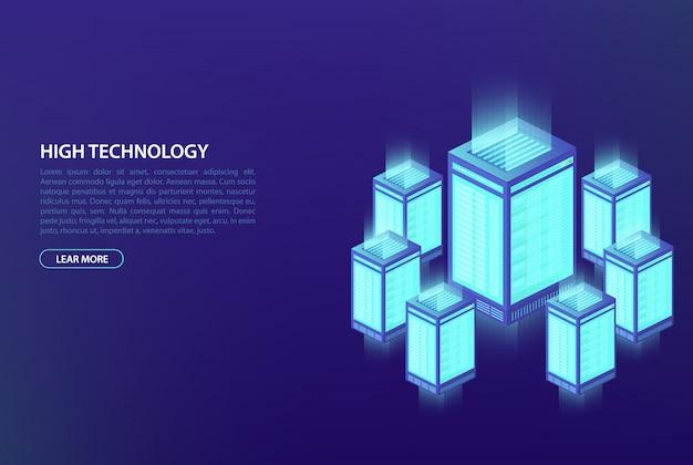 Big data, conceito de processamento de dados. data center, banco de dados em nuvem, hospedagem.
