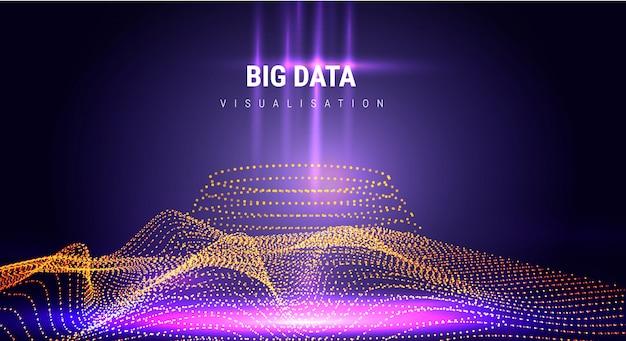 Big data. informação estética futurista design estético. complexidade visual da informação. gráfico de encadeamentos de dados intrincados. representação de análise de negócios. pontos de onda grade fractal. visualização de som.