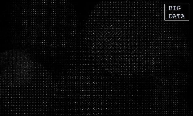 Big data. rede de visualização. infográficos futuristas. onda 3d. cartaz abstrato de meio-tom.