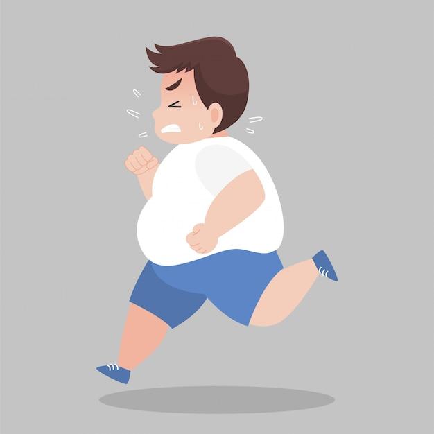 Big fat homem correndo quer perder peso