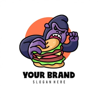Big gorilla eating big burger logo