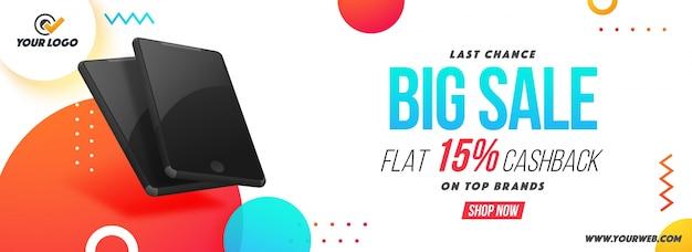 Big sale social media banner com smartphones.