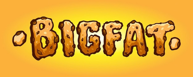 Bigfat typeface biscuit hand drawn vector ilustrações para seu trabalho logotipo, t-shirt de mercadoria de mascote, adesivos e designs de etiqueta, cartaz, cartões comemorativos anunciando empresa de negócios ou marcas.