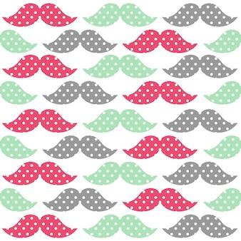 Bigodes coloridos em tons pastéis com ilustrações de várias formas