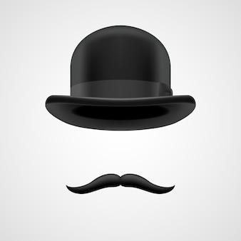 Bigodes encaracolados retrô e elementos de chapéu-coco. rico aristocrata vitoriano em fundo cinza