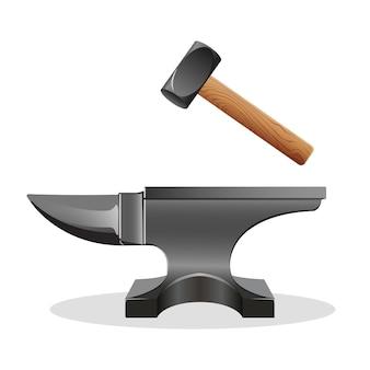 Bigorna com martelo isolado no branco. bloco com superfície dura na qual outro objeto é atingido. martelo de ferreiro enorme. usado como ferramenta de forjamento. ferramenta primária de metalúrgicos. ilustração