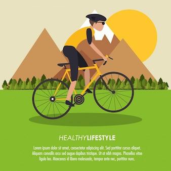 Bike racing cartoon masculino desafia-te ícone