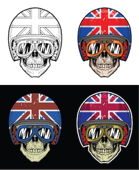Biker skull wearing goggles e grunge uk flag helmet, hand drawing skull