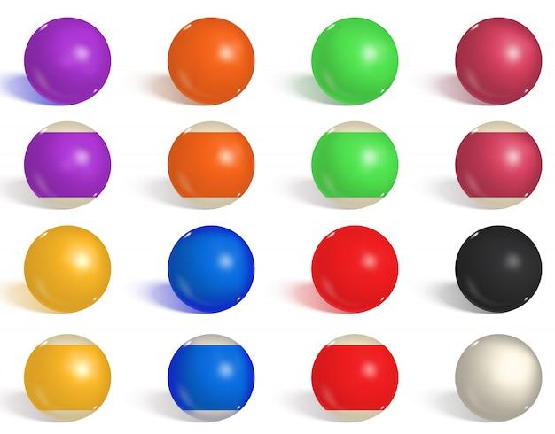 Bilhar, coleção de bolas de bilhar. snooker
